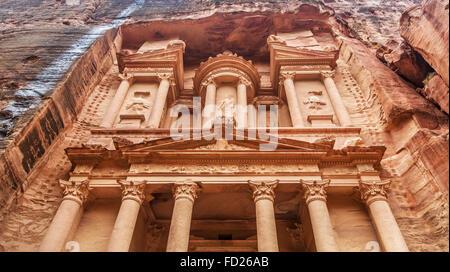 Al Khazneh - the treasury of Petra ancient city, Jordan. Close-up. - Stock Photo