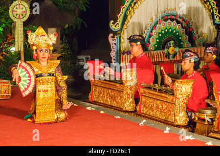 Traditional dance (Legong dance and Ramayana). Ubud Palace. Ubud. Bali. Indonesia. - Stock Photo