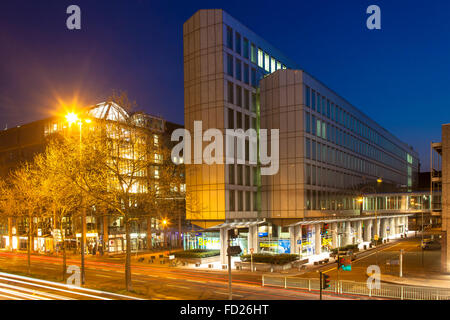 Europe, Germany, Cologne, the WDR Arcade and the building Vierscheibenhaus of the Westdeutscher Rundfunk or West - Stock Photo