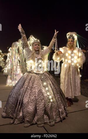 Europe, Germany, North Rhine-Westphalia, Cologne, the Christmas parade Vagalume at the Rheinau harbor, fairy, Christmas - Stock Photo
