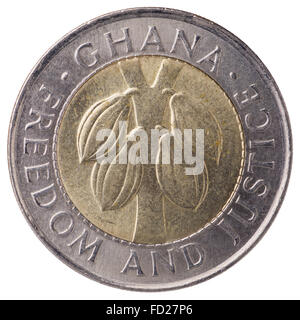100 Ghana cedis (second cedi) coin, 1999, face, with inscription: Ghana, Freedom and Justice - Stock Photo