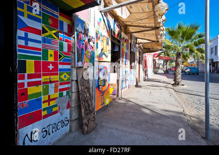 Horizontal view of a typical street in Sal on Cape Verde. - Stock Photo