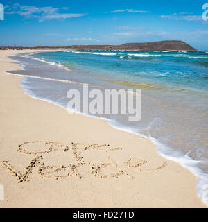 Square view of Cape Verde written in the sand at Kite Beach. - Stock Photo