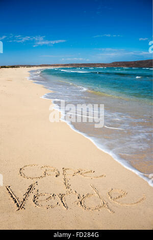 Vertical view of Cape Verde written in the sand at Kite Beach. - Stock Photo
