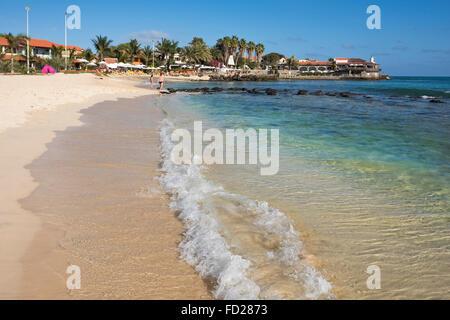 Horizontal view of Praia de Santa Maria on Sal in Cape Verde. - Stock Photo