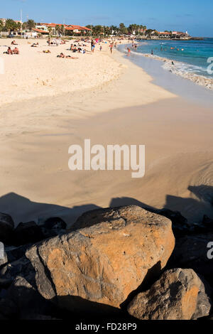 Vertical view of Praia de Santa Maria on Sal in Cape Verde. - Stock Photo