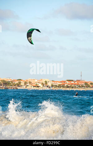 Vertical portrait of a kite surfer in Cape Verde. - Stock Photo