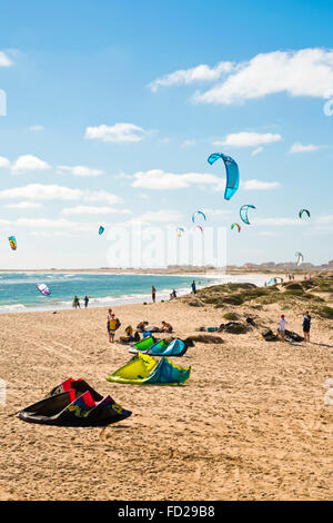 Vertical view of kite surfers in Cape Verde. - Stock Photo