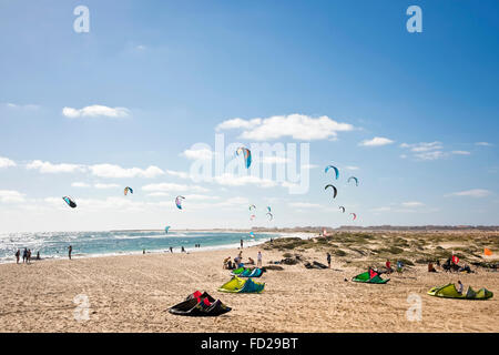 Horizontal view of kite surfers in Cape Verde. - Stock Photo