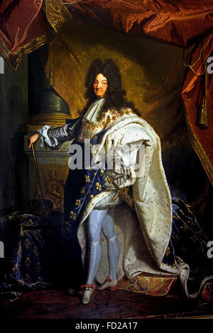 King Roi Louis XIV 1710-74 in Coronation Robes 1701 Rigaud Hyacinthe 1659-1743 France French - Stock Photo