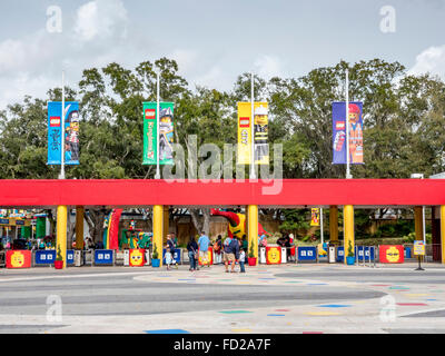 Lego Legoland Florida, Located In Winter Haven South Of Orlando Florida The Main Entrance With Turnstiles - Stock Photo