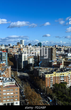 Vertical view of an area of Madrid city from Moncloa lighthouse, Spain - Stock Photo