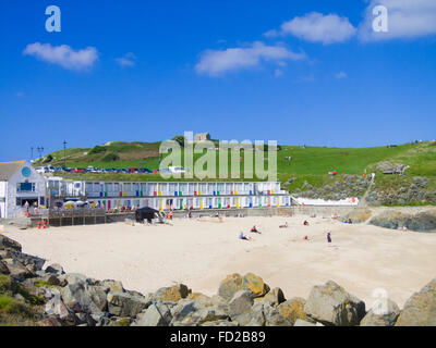 Porthgwidden Beach & The Island or St Ives Head in the Background, St Ives Town, Cornwall, England, UK in Summer - Stock Photo