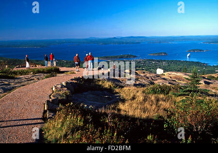 Admiring the view from Cadillac Mountain,Acadia National Park - Stock Photo
