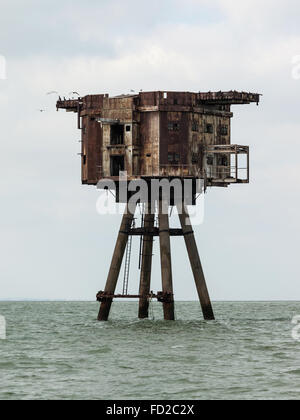 Color photograph of Mounsell Forts in Red Sands (Thames Estuary, London) - Stock Photo