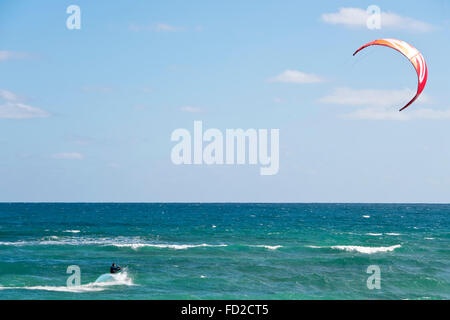 Horizontal view of a kite surfer in Cape Verde. - Stock Photo