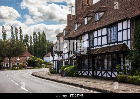 The main road through the pretty village of Biddenden in Kent. - Stock Photo
