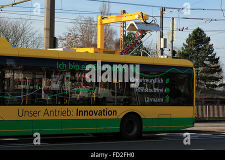 tranport, road traffic, passenger transportation, electric bus at a charging station, Battery electric bus Solaris - Stock Photo