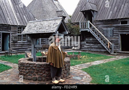 Costumed role player at The Habitation,Port Royal National Historic Site,Nova Scotia - Stock Photo