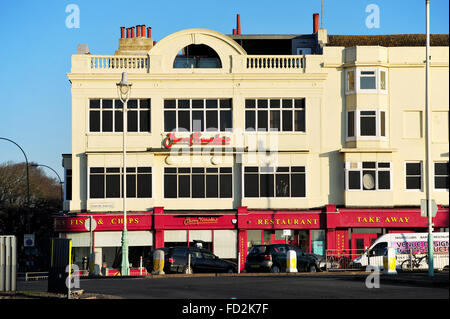The Harry Ramsden's Fish & Chips restaurant on corner of The Steine and seafront in Brighton - Stock Photo