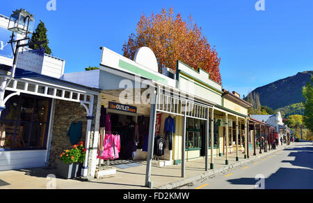 Main street of Arrowtown . an historic gold mining town in the Otago region of the South Island of New Zealand. - Stock Photo