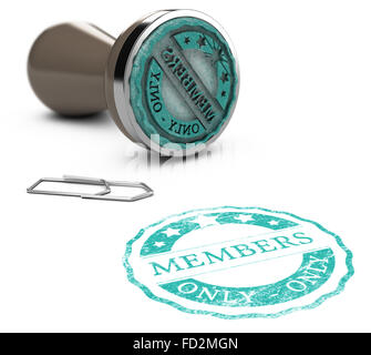 Rubber stamp image with the text members only printed on a white background. Communication concept for Illustration - Stock Photo
