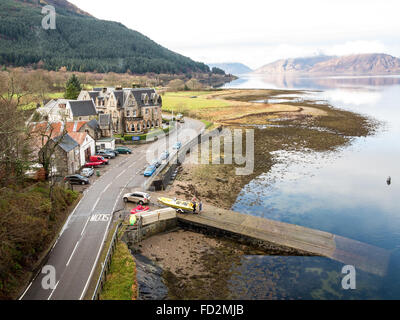 Ballachulish Hotel on Loch Leven sea water loch nr Fort William and Glencoe in Perth and Kinross council area, central - Stock Photo