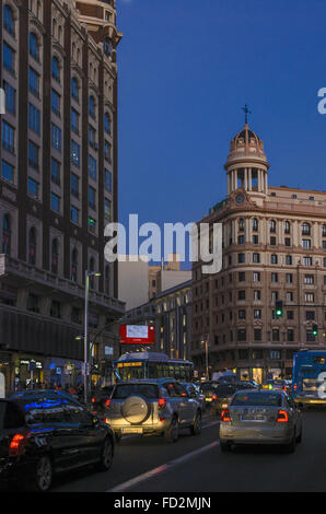 View of Gran Via street in the evening, Madrid city, Spain - Stock Photo