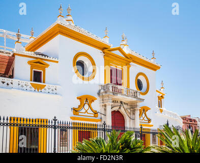 Spain, Andalusia, Province of Seville, Seville, Plaza de Torros de la Real Maestranza, facade of the Seville bullring - Stock Photo