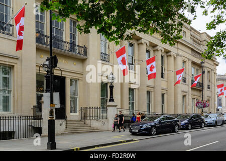 Canada House on Trafalgar Square, London. Embassy of Canada in England. Canadian High Commission - Stock Photo