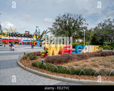 The Main Entrance And Welcome Sign At Lego Legoland Florida, Located In Winter Haven South Of Orlando Florida - Stock Photo