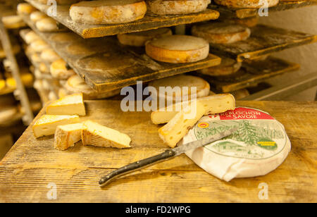 The Reblochon is an AOC cheese of Le Grand-Bornand in Haute-Savoie, French Alps, France - Stock Photo