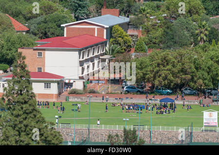 BLOEMFONTEIN, SOUTH AFRICA, JANUARY 14, 2016: A scene at the Oranje Meisieskool as seen from Naval Hill - Stock Photo
