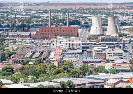 BLOEMFONTEIN, SOUTH AFRICA, JANUARY 6, 2016: The old power station, train station and taxi rank in Bloemfontein - Stock Photo