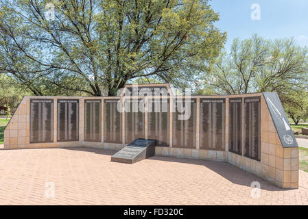 BLOEMFONTEIN, SOUTH AFRICA, JANUARY 26, 2016: A wall of rememberance at the Womens Memorial - Stock Photo