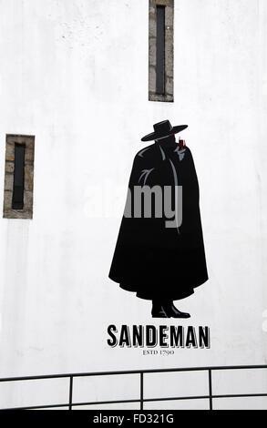 House of Sandeman building mural at Vila Nova de Gaia in Porto - Stock Photo