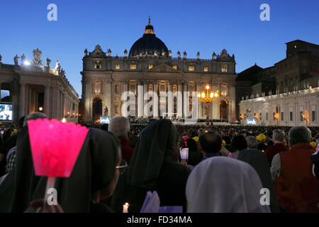 Vatican City. 3rd Oct., 2015. the preach of the pope Francis before the Synod on the family, St. Peter's Square, - Stock Photo