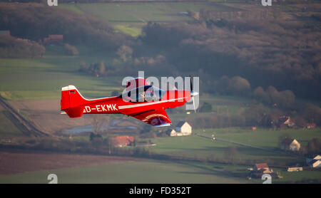 Aerial view, red plane Falco, timber construction, blue sky, D-EKMEK, general aviation, rice aircraft Echo class - Stock Photo