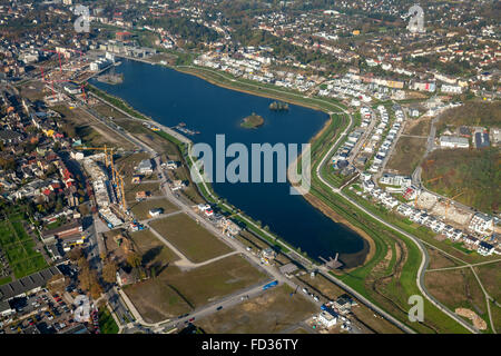Aerial view, Phoenix Lake Dortmund-Hörde, Phoenix Lake with building area and Hörder castle, Dortmund, Ruhr area, - Stock Photo