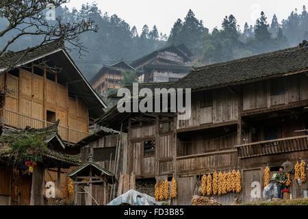 Langde Shang Miao Village, Guizhou Province, China - Stock Photo