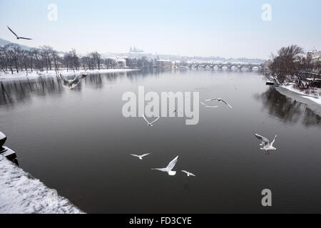River Moldau with Prague Castle and St. Vitus Cathedral in background in winter time,  Prague, Czech Republic - Stock Photo