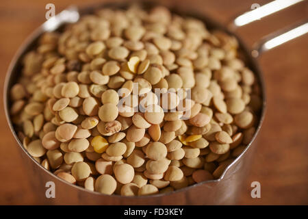 A cup of dried brown lentils - Stock Photo