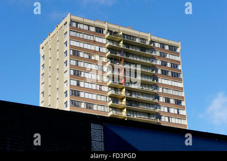 1970's era high rise apartment building in the downtown West End area of Vancouver, BC, Canada - Stock Photo