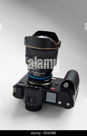 leica sl camera body fitted with nikon 80 400 vr zoom