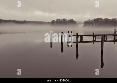 Black and white shot of mist over a lake at Gammel Ry, Denmark - Stock Photo