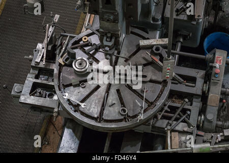 Workbench with tools in Works area of National Railway Museum in York, England. - Stock Photo