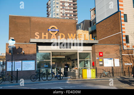 East End Wapping Shadwell DLR TFL Overground station entrance Transport for London subway Metro Docklands Light - Stock Photo