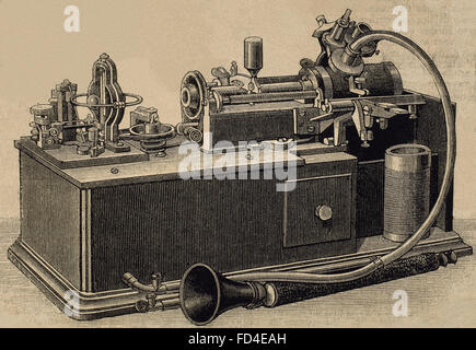 Phonograph invented in 1877 by Thomas Alva Edison (1847-1931).  Engraving, 19th century. - Stock Photo