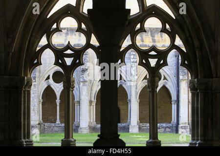 Cloister. Noirlac Abbey. - Stock Photo
