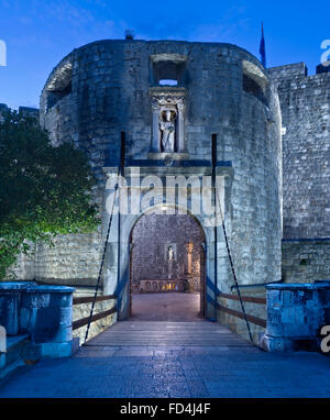 Pile Gate at night, the entrance to Dubrovnik Old Town, Dubrovnik, Croatia, Europe - Stock Photo